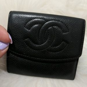 VINTAGE AUTHENTIC Chanel Black Coin Holder Wallet